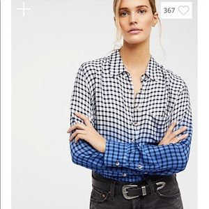 Free People slouchy Ombré button up blouse